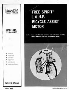 Free Spirit Bicycle Assist Motor Owner U0026 39 S Manual