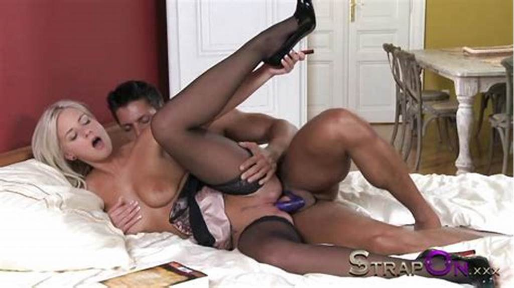 #Strapon #Hot #Blonde #Given #Double #Penetration