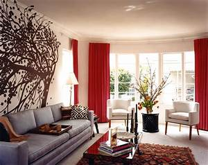 M design living room grey sofa couch red drapes curtains for Gray and red living room