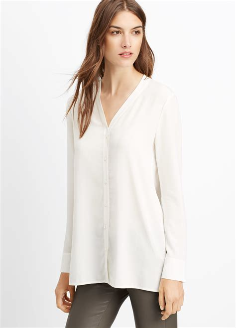 up blouse pics lyst vince silk button up blouse in white