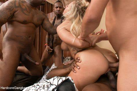 Black Chick Is Licking Gang Hardcore Cocks