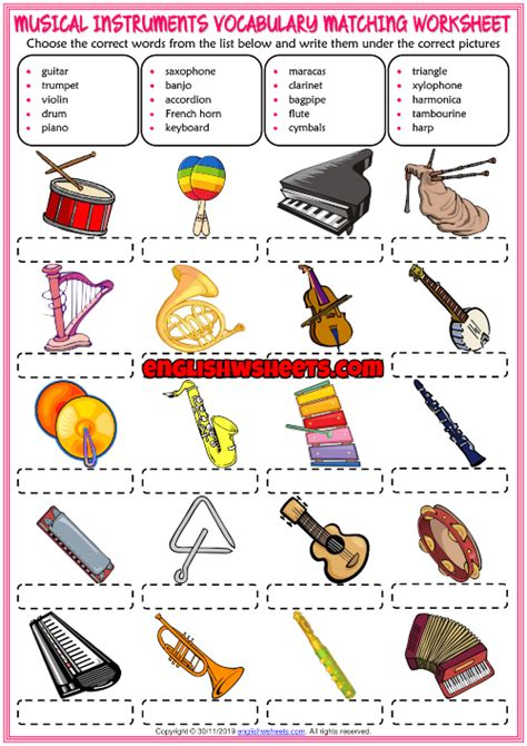 Musical instruments are categorized in families. Musical Instruments ESL Matching Exercise Worksheet For Kids in 2020 | Elementary music ...