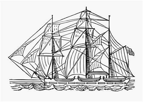 Line Art watercraft galiot Gambar Kapal Layar Hitam