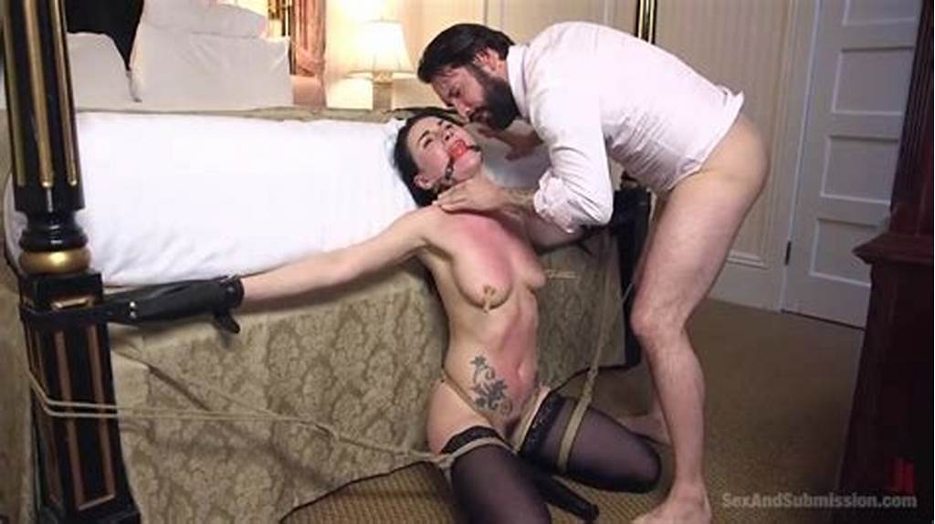 #Abducted #Brunette #Tied #To #A #Bed #And #Mouth #Raped