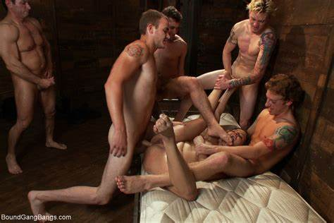 Rough Students Stuffed Gangbang With