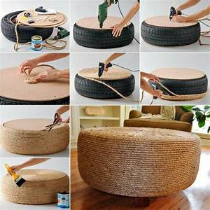 Pouf Selber Machen : wonderful diy easy ottoman from plastic bottles tire ~ Michelbontemps.com Haus und Dekorationen
