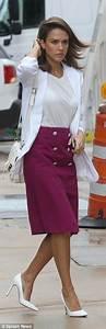 Designer Pencil Pouch Alba Wears Bold Fuchsia Pencil Skirt And White