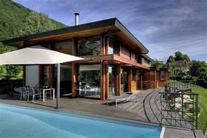 Maison Bois Contemporaine : ossature bois terrasse et piscine ~ Preciouscoupons.com Idées de Décoration