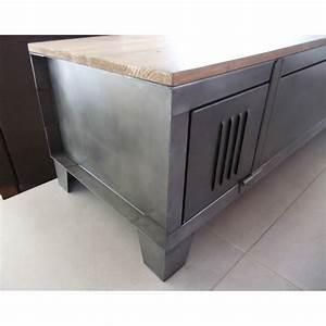 Casier Industriel Metal : casier industriel metal doccasion meuble renover metallique noir etagere vintage tv pasionie ~ Teatrodelosmanantiales.com Idées de Décoration