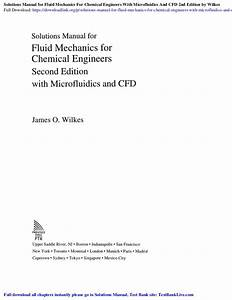 Solutions Manual For Fluid Mechanics For Chemical