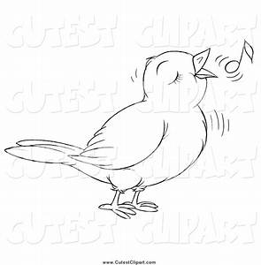 Singing Bird Clipart Black And White - ClipartXtras