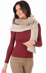 Echarpe Femme Laine : maxi echarpe laine et fourrure de raccoon femme lea clement la canadienne etole echarpe ~ Nature-et-papiers.com Idées de Décoration