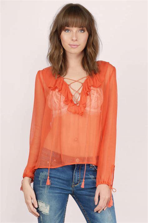 up blouse pics terracotta blouse orange blouse lace up blouse 26 00