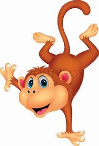 Vector Illustration Of Cute Monkey Cartoon Standing In Its