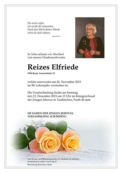 Sterbefall: Elfriede Reizes | Bestattung Reisecker