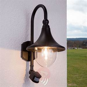 Daphne Outdoor Wall Light With Sensor  Black