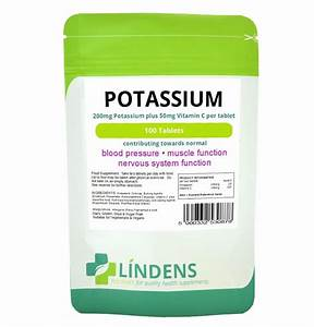 Potassium Chloride With Vitamin C 100 Tablets 200mg Quality Mineral Supplement