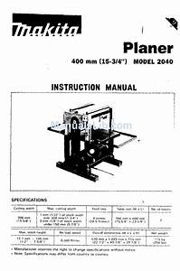 Makita Planer 2040 Instruction Manual Pdf Download