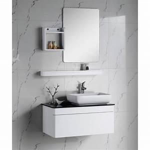 Meuble Salle De Bain Bois Et Blanc : meuble salle de bain en bois massif blanc laqu achat vente meuble vasque plan meuble ~ Teatrodelosmanantiales.com Idées de Décoration