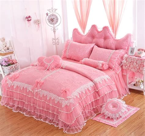 Girls Bedding Sets White Lace Ruffle Duvet Cover Set