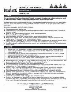 Bernzomatic 330194 St2200t Butane Micro Torch Manual