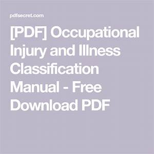 Pdf  Occupational Injury And Illness Classification