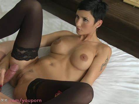 Shorthaired Long Hair Pornstar Exposes Her Shaved Ass