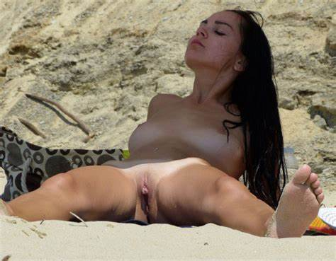 Alluring Jizz In The Beach Hairless And At The Nudists Shower