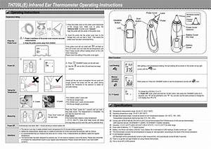 Th709l E  Infrared Ear Thermometer Operating Instructions