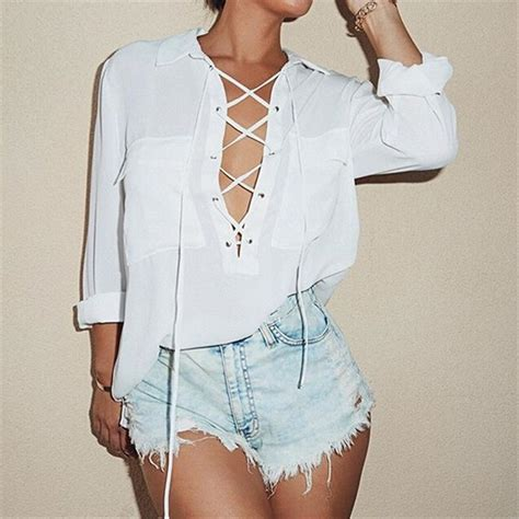 up blouse pics 2016 womens turn collar hollow front lace up