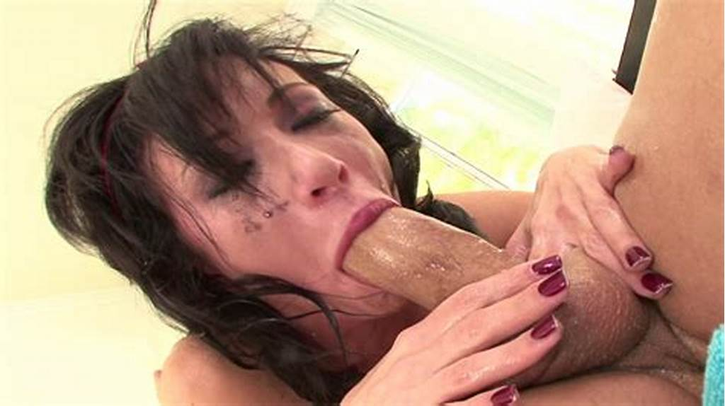 #Brunette #Deepthroating #A #Tasty #Dick