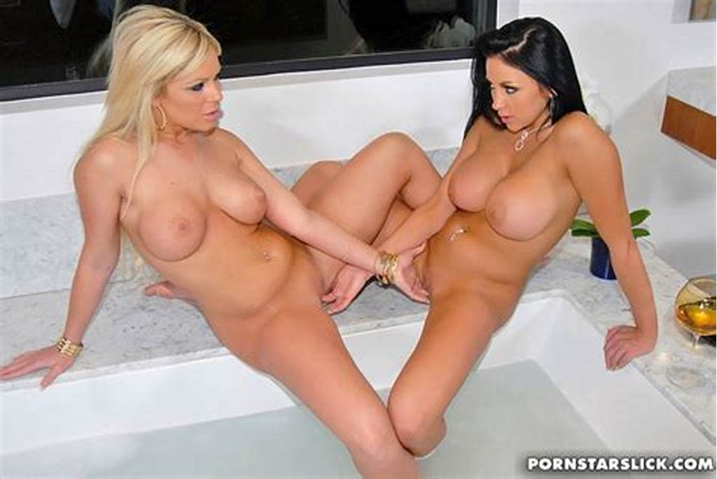#Hot #Brunette #And #Blonde #Lesbians #Pushing #To