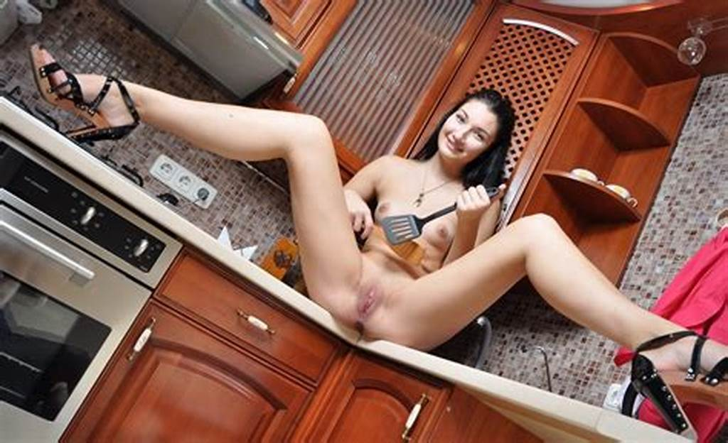 #Brunette #Exposes #Her #Shaved #Pussy #At #Kitchen