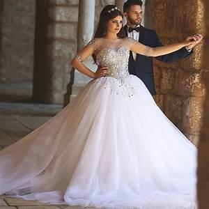 vestidos de novia 2016 con mangas nude with crystal court With robe mariage nude