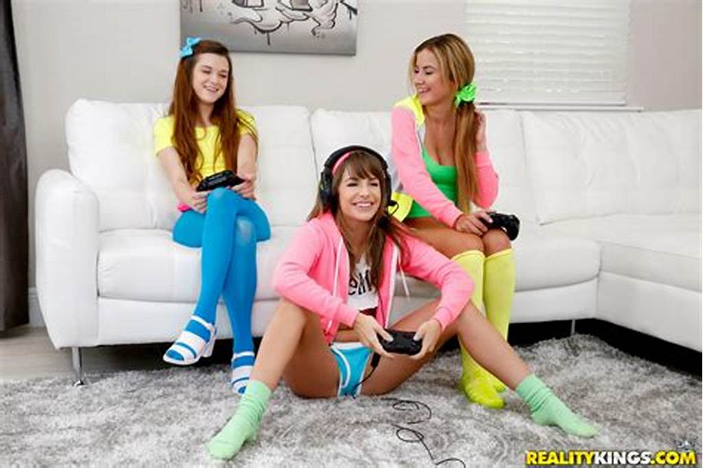 #Three #Sexy #Girls #Playing #Video #Games #And #Fucking