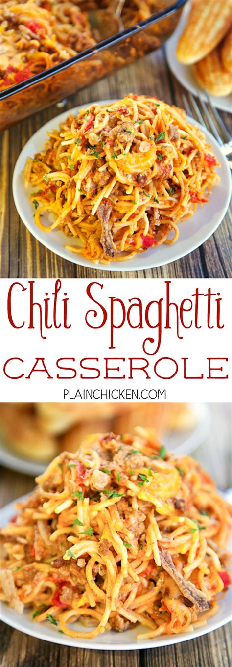 So he put together this chili pasta bake recipe which he later posted on his blog; Chili Spaghetti Casserole | Plain Chicken®