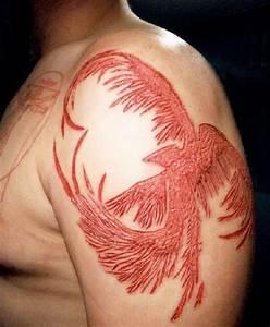 Beautiful Phoenix Skin Scarification On Shoulder