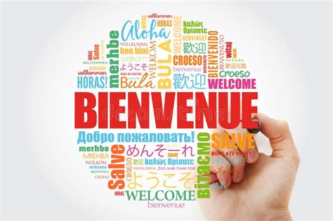 Bienvenue Welcome In French Word Cloud With Marker In ...