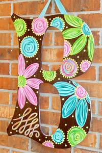large door hanger letters with bows or without doors With letter p door hanger
