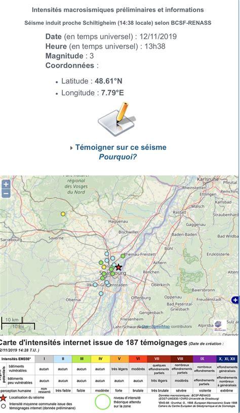 Par charentelibre.fr avec afp, publié le 12 novembre 2019 à 15h07, modifié à15h11. France-Séisme: Secousse tellurique de faible magnitude à 13h38 à Strasbourg | La lettre patriote