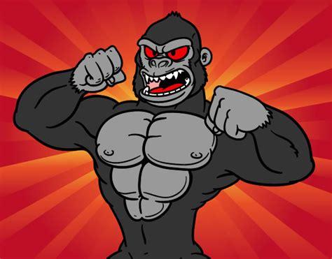Desenho de Gorila forte pintado e colorido por Alandasilv