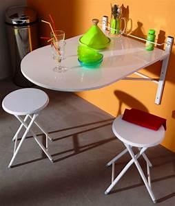Table Pliable Murale : set con tavolo da parete con 2 sgabelli colore bianco ~ Preciouscoupons.com Idées de Décoration