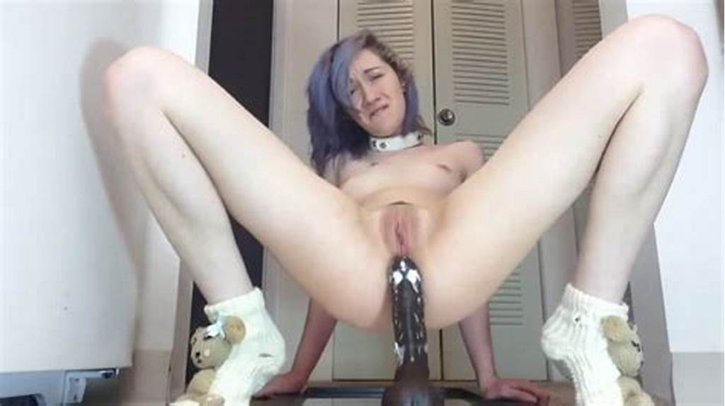 #Blue #Hair #Emo #Teen #With #Slim #Body #Impaling #Ass #On #Dildo #On