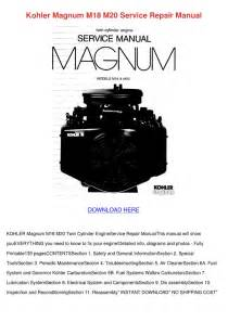 Kohler Magnum M18 M20 Service Repair Manual By Beckie Aina