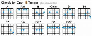 Guitar Capo Chart Standard Tuning Open E Tuning Guitar Chords Can Also Be Used In Open D