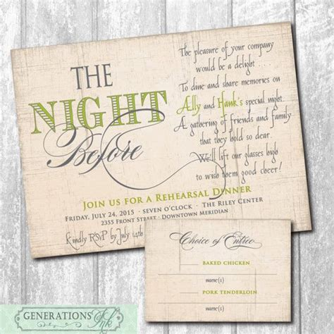 Beautiful Rehearsal Dinner Invitation with Choice or