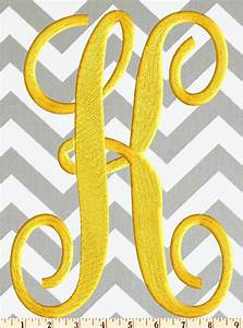 large 4 inch tall scripty monogram font embroidery file With 4 inch embroidered letters