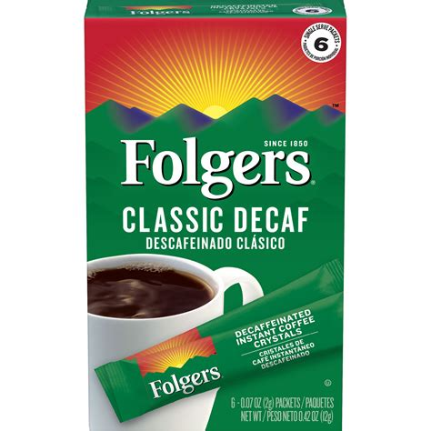 Decaffeinated coffee is regular coffee that has been for example, coffee made in a french press will have more caffeine than an espresso shot because the. Folgers Classic Decaf Instant Coffee Crystals Packets, 6 Count - Walmart.com - Walmart.com