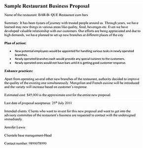 Cover Letter For Construction Bid Proposal Restaurant Business Proposal Template
