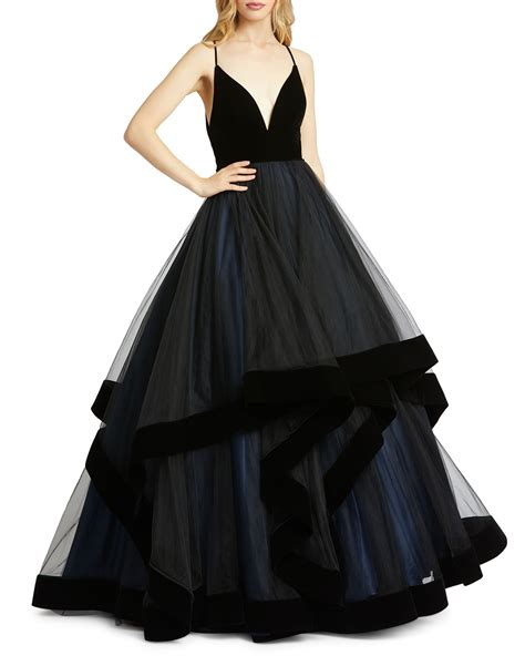 | macduggal v neck gown: Mac Duggal Plunging V-Neck Velvet Trim Tiered Ball Gown ...